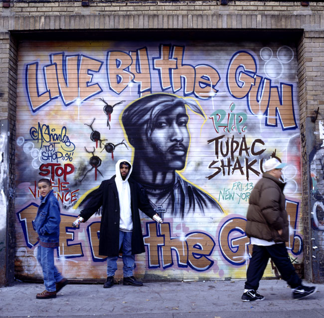 Live by the gun die by the gun archive of attitude for 2pac mural new york