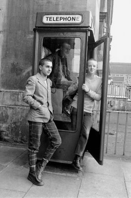 PUNKS IN PHONE BOX 1980
